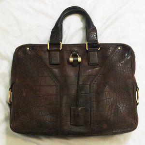 Saint Laurent Croc Embossed Leather Briefcase Bag
